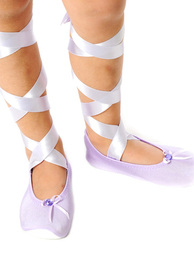 Fairy Girls - Ballet Slipper with Ribbon in Lilac (Small, age 2-4)