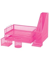 FM 6 Piece Mesh Desk Set - Pink