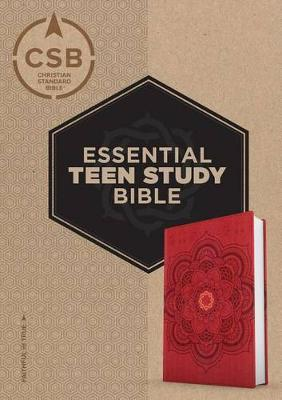 CSB Essential Teen Study Bible, Red Flower Cork Leathertouch by Csb Bibles by Holman