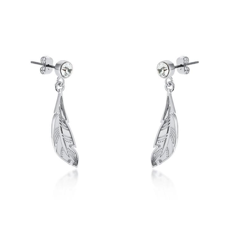 Couture Kingdom: Disney - Princess Pocahontas Feather Earrings (White Gold) image