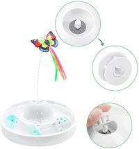 Butterfly Turntable - Interactive Pet Toy (White)