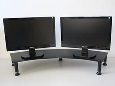 fluteline dual monitor stand metal black at mighty ape australia. Black Bedroom Furniture Sets. Home Design Ideas