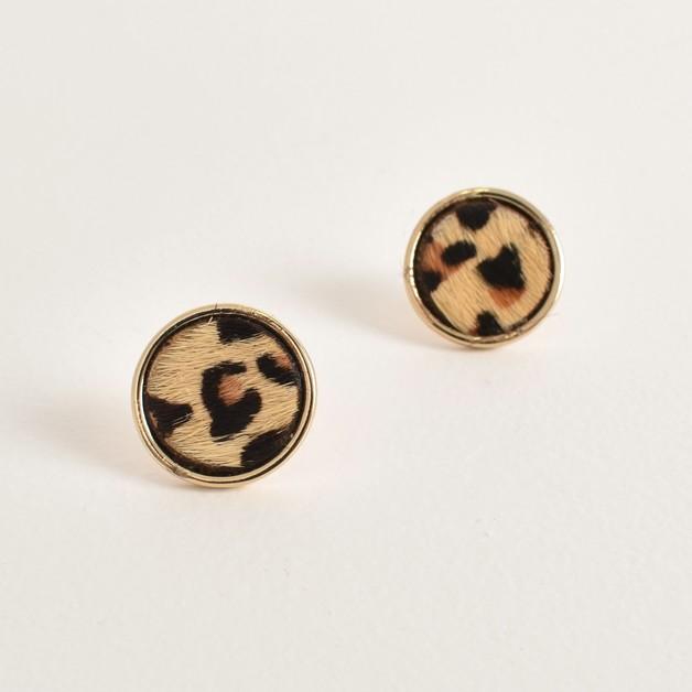 Adorne: Hide Button Stud Earrings