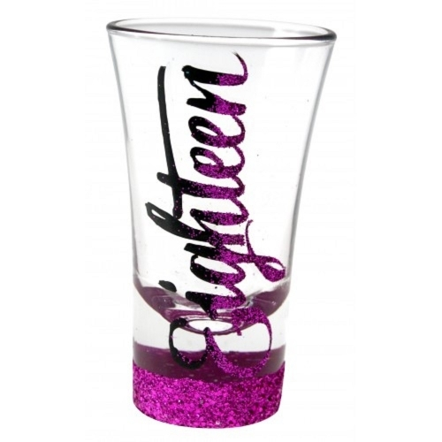 Glitter Script: Eighteen Pink Glitter Shot Glass
