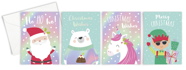 Boxed Mini Cube Christmas Cards - Cute (Pack of 16)
