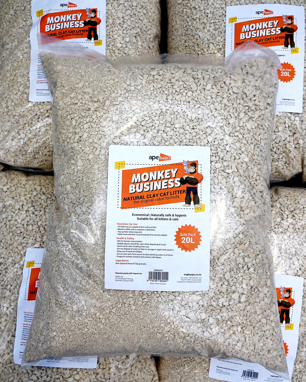 Monkey Business Cat Litter - Natural Clay (20L) image