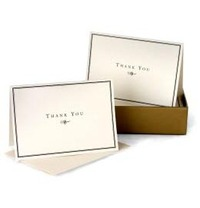 Black & Cream Thank You Note Cards (14 Cards/Envelopes) image