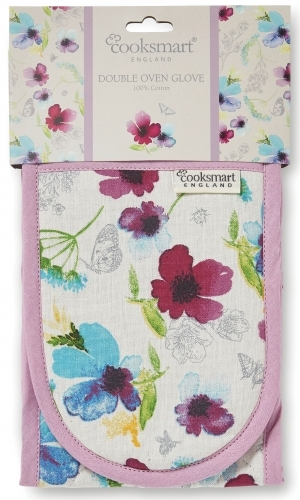 Cooksmart: Chatsworth Floral Double Oven Gloves