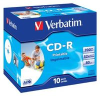 Verbatim CD-R 700MB 10Pk JC White Wide InkJet 52x image