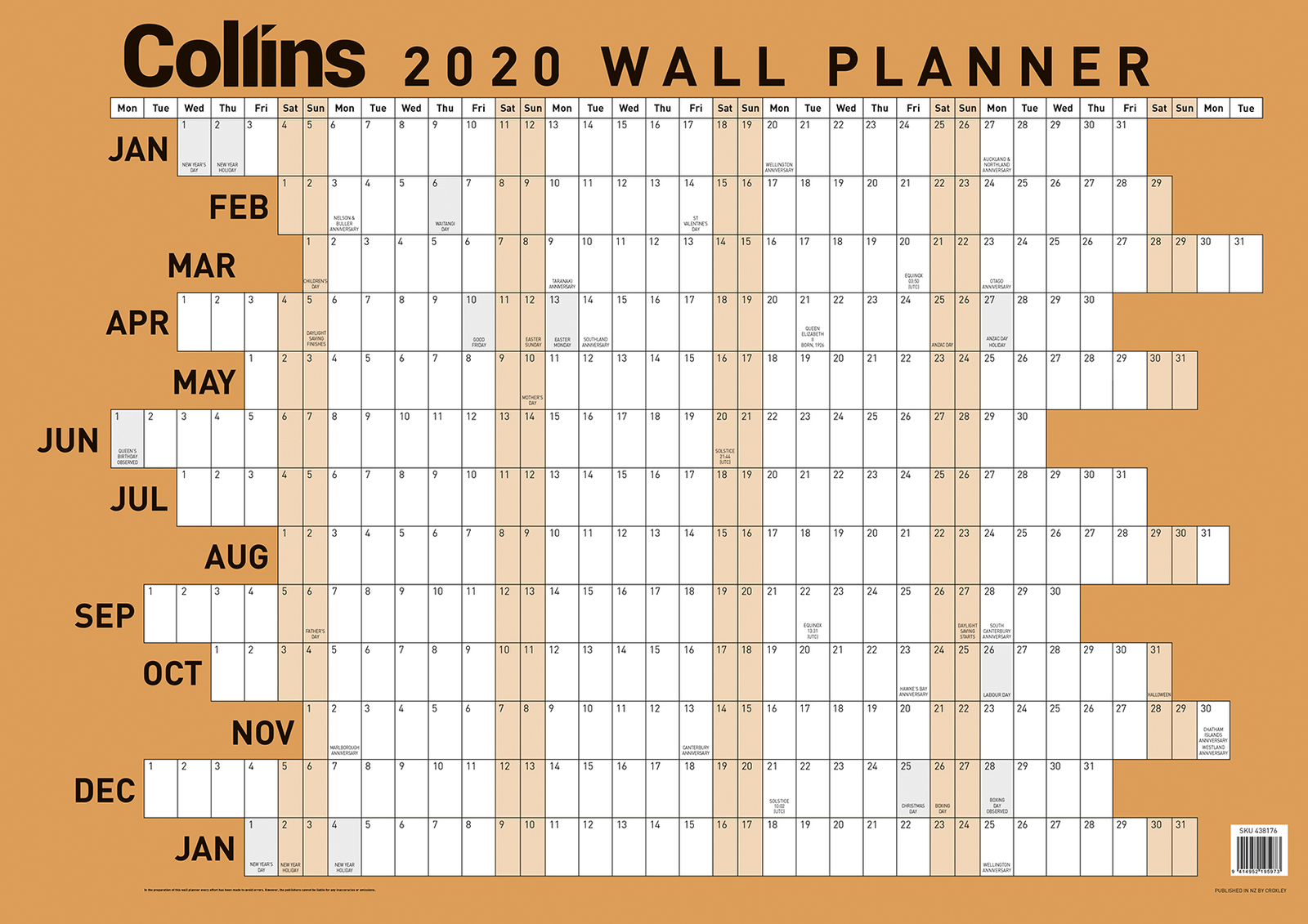 Collins: 2020 Laminated A2 Wall Planner image