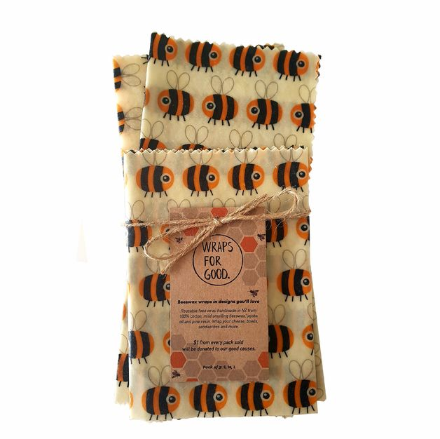 Beeswax Wraps Reusable Food Wrap - Bees