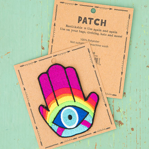 Natural Life: Restickable Patch Fabric - Hamsa Eye