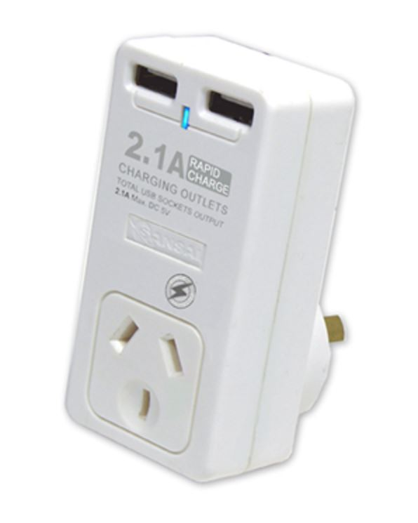 Sansai Single Surge Adapter with 2 x USB Charging Ports