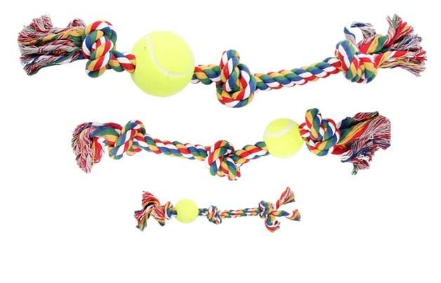 """Pawise: 8"""" Rope Bone - With 3 Knots & Tennis Ball/Multi Color"""