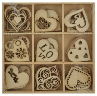 Kaisercraft: DIY - Wooden Shapes Love - 45 Pc