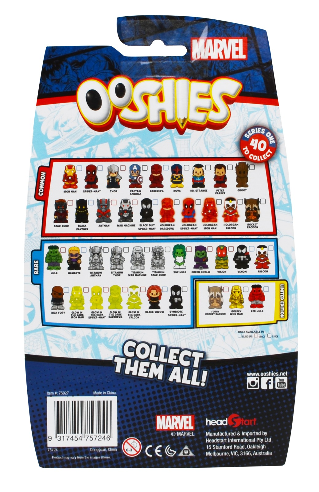Ooshies Marvel 7 Pack Toy At Mighty Ape Australia