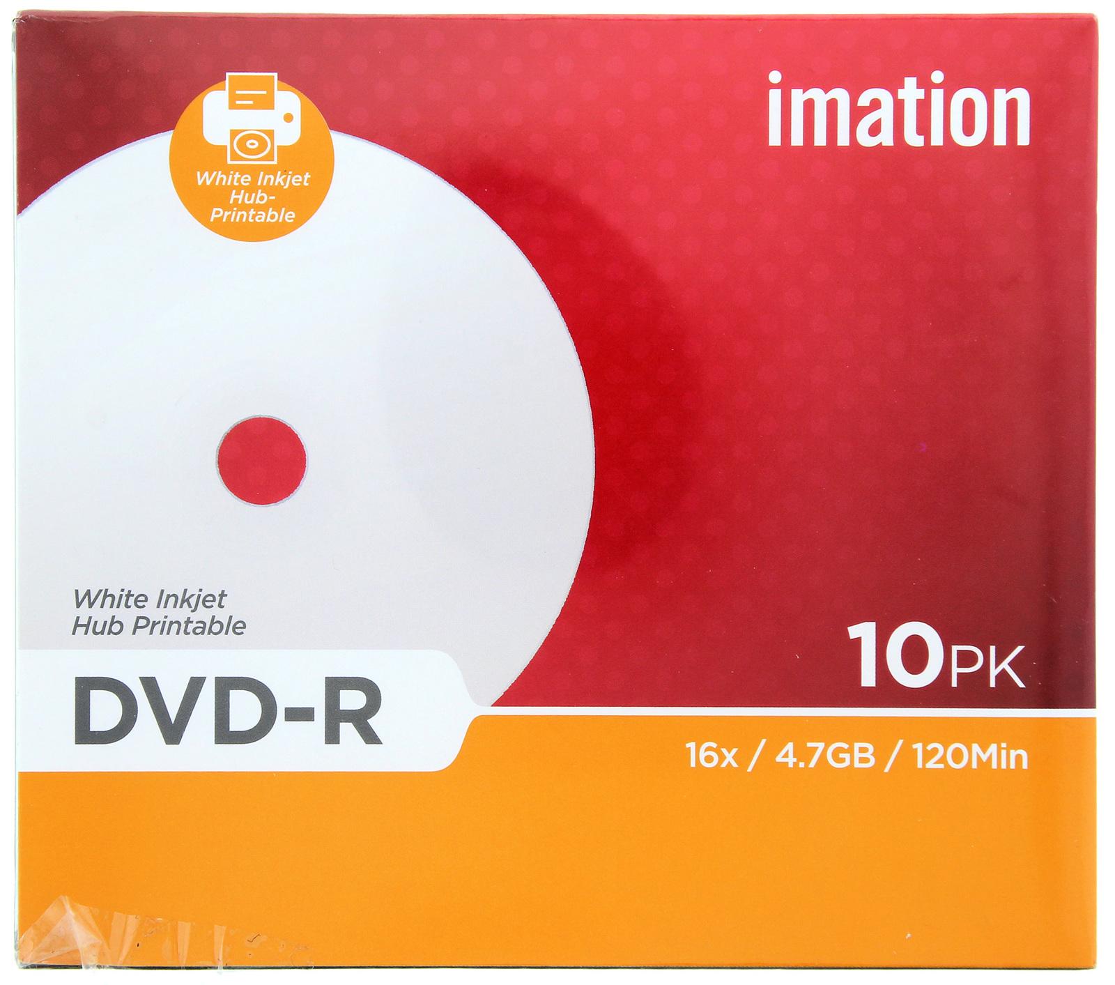 Imation Printable DVD-R 4.7GB 16X 10PK SLIM JEWEL image