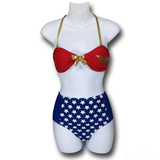 Wonder Woman Tie Bandeau High Waist Bikini (Small)