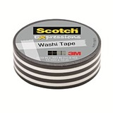 Scotch Washi Craft Tape Black Stripes 15mm x 10m