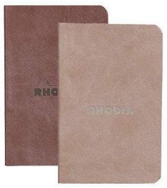 Rhodiarama Set of 2 Soft Cover Notebooks - Chocolate & Taupe