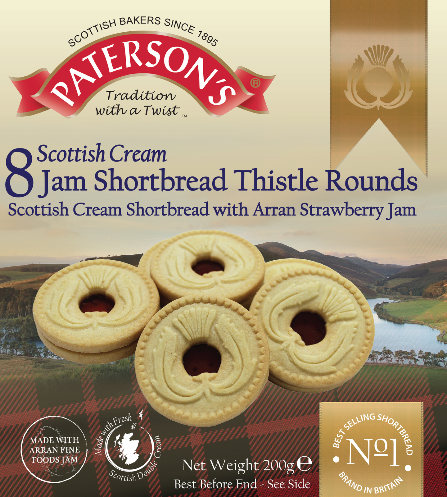 Patersons Scottish Cream Jammy Shortbread 200g image