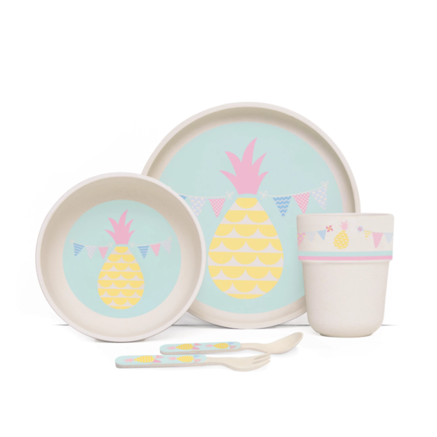 Penny Scallan: Pineapple Bunting Bamboo Meal Set with Cutlery