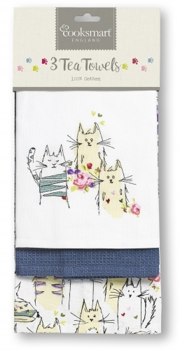 Cooksmart 3 Pack Tea Towel - Top Cats