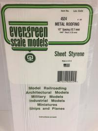 Evergreen Styrene Roofing 15X29cm X 1 mm 12.7 mmsp