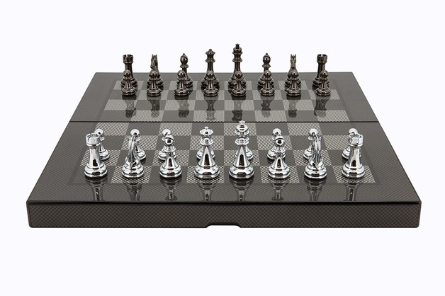 Dal Rossi Carbon Fibre Finish Folding Chess Set - 40cm