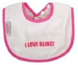 Silly Billyz Bling Baby Bib - I Love Bling (White/Cerise)