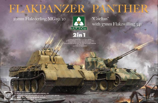 Takom 1/35 Panther Colian W/37 & 20mm Flak 2n1 - Scale Model