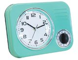 Retro Kitchen Metal Wall Clock with Timer (50s Blue)