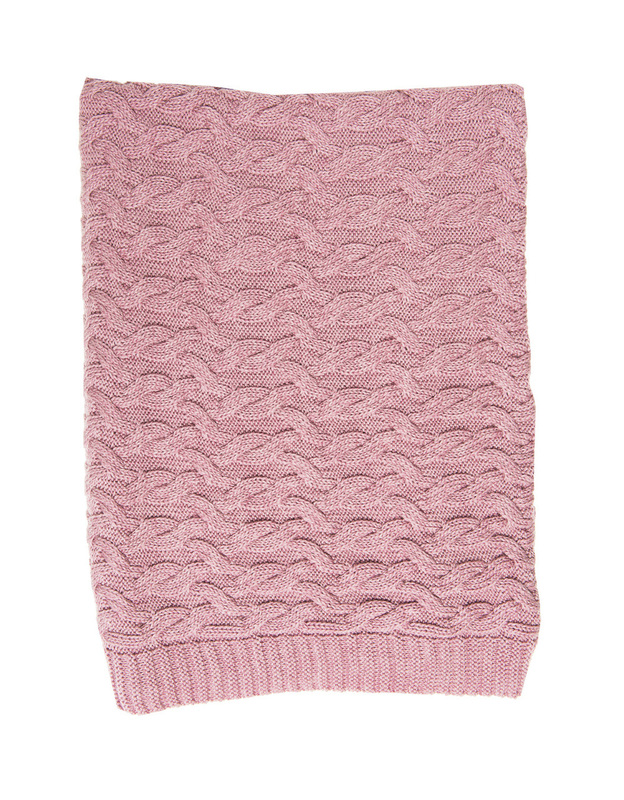 Merino Blanket Isaac Cable - Marl Pink (130 x 100cm)