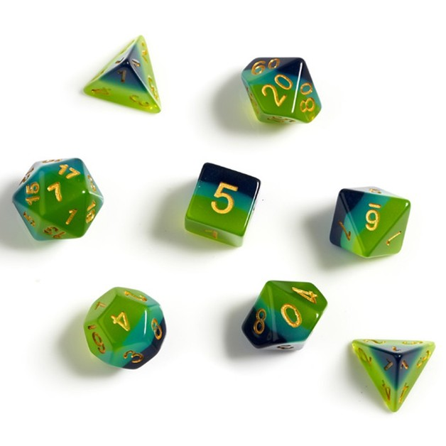 Sirius Dice Green Blue Gold Polyhedral Dice Set