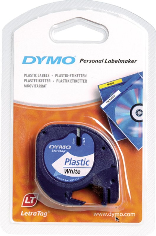 Dymo LetraTag Label Tape - 4m (Black on White)