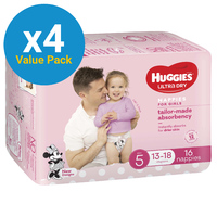 Huggies Ultra Dry Nappies Convenience Value Box - Size 5 Walker Girl (64)