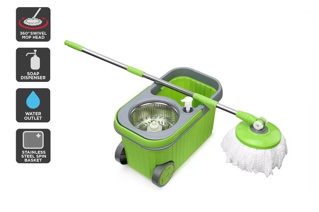Essentials For You: Magic 360° Spin Mop with Roller Bucket and 5 Mop Heads
