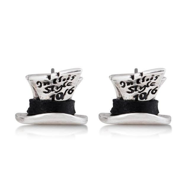 Couture Kingdom: Disney Mad Hatter Stud earrings- White Gold