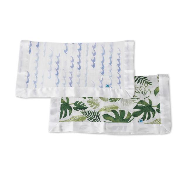 Little Unicorn: Muslin Security Blanket 2 Pack - High Tide & Tropical Leaf