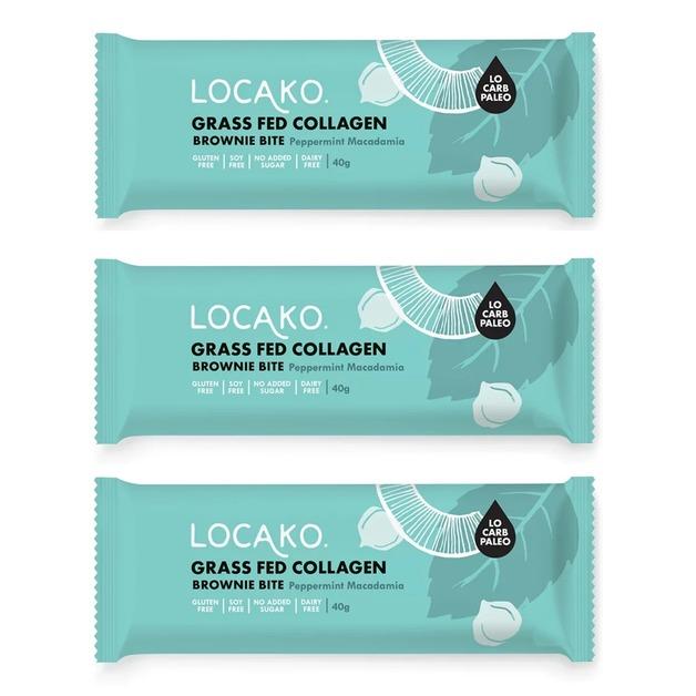 Locako: Grass Fed Collagen Brownie Bite - Peppermint & Macadamia (14x40g)