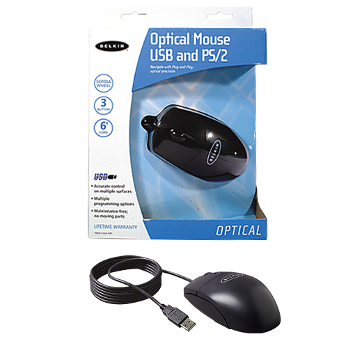Belkin 3 Button Optical Mouse with Scroll Wheel (PS/2 &  USB Combo) Black image