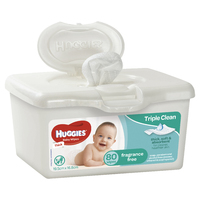 Huggies Baby Wipes Tub - Fragrance Free (80 Wipes)