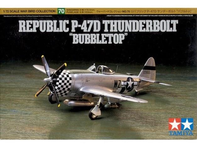 "Tamiya U.S. P-47D Thunderbolt ""Bubbletop"" 1/72 Aircraft Model Kit"