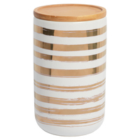 Marlo Canister with Wood Lid - Ladder Gold (Large)