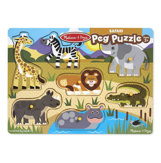 Melissa Doug Safari Wooden Peg Puzzle Toy At Mighty Ape Nz