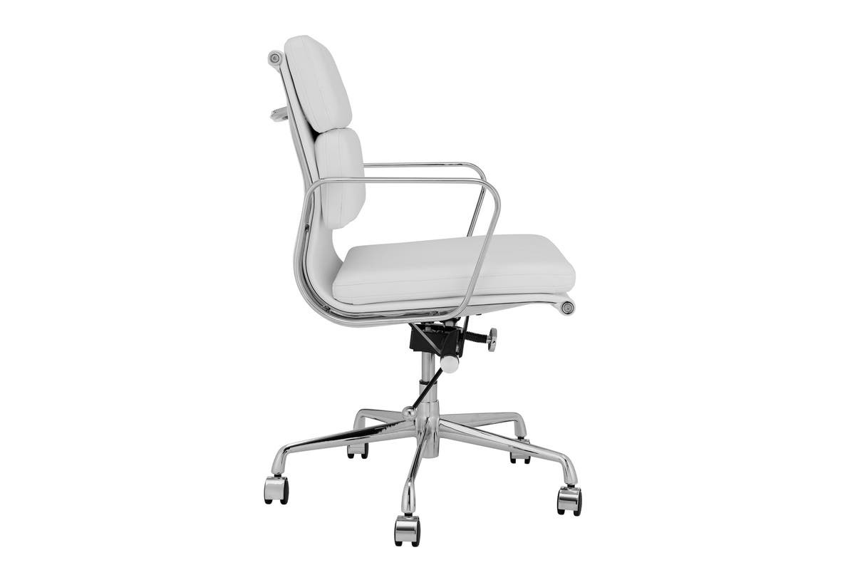 Replica Eames Group Standard Aluminium Padded Low Back Office Chair (White Leather) image