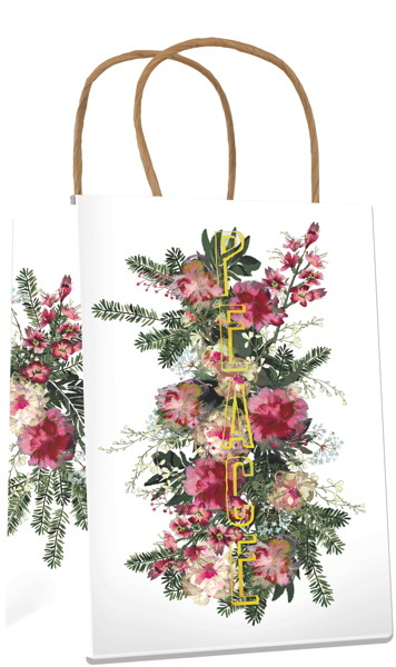 Papaya: Christmas Gift Bag - Floral Gold Peace