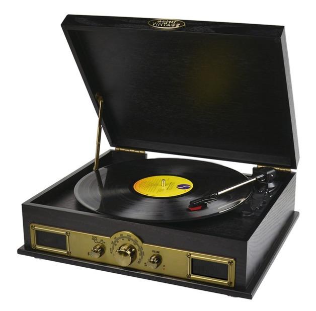 mBeat: Vintage Wood Bluetooth Turntable - SPK/AM/FM