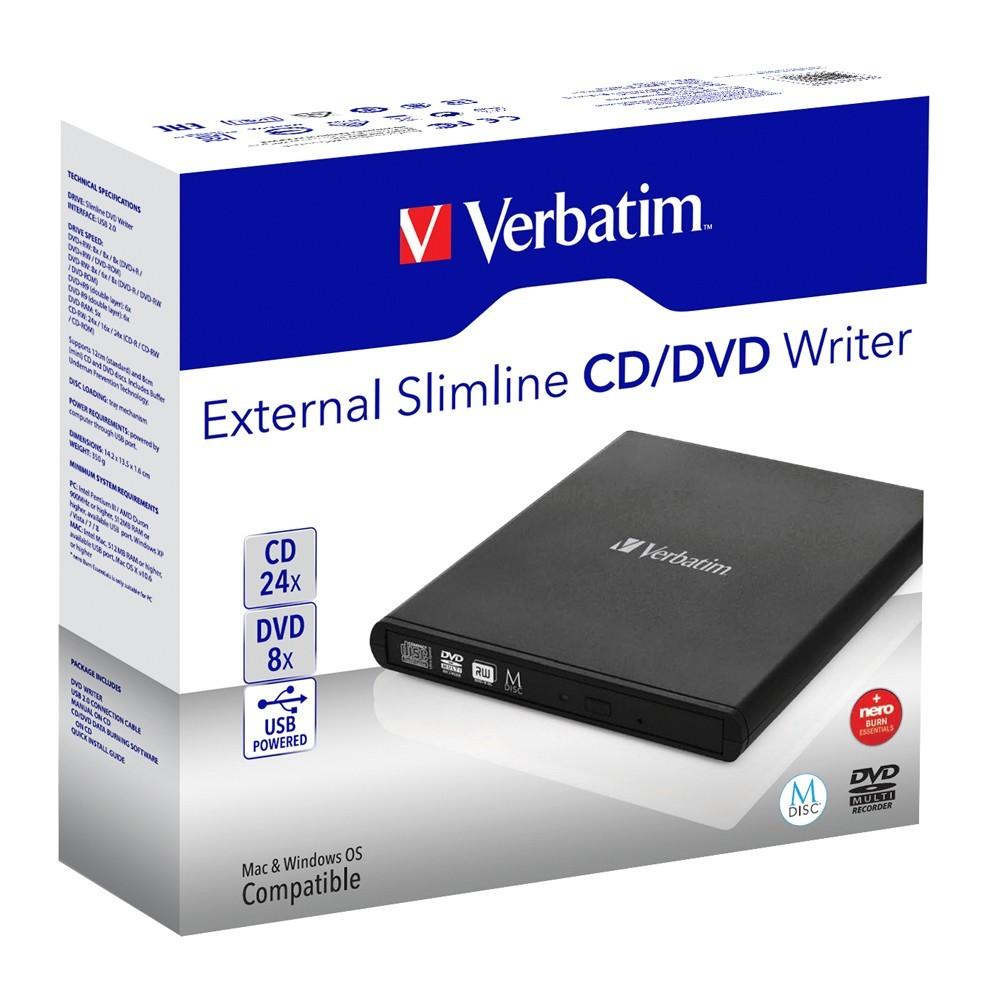 Verbatim External Slimline Mobile CD/DVD Writer USB 2.0 (Black) image