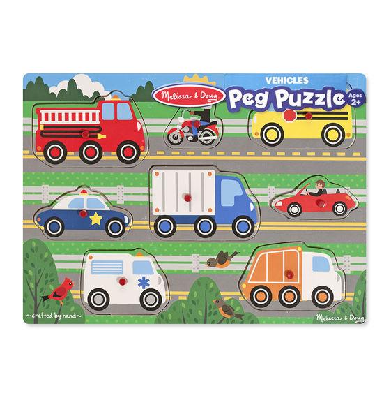 Melissa & Doug: Vehicles Peg Puzzle 8 Pieces